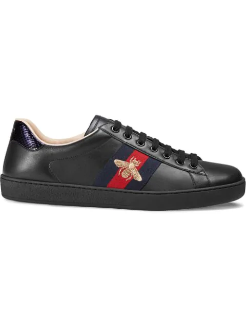 Gucci Ace Embroidered Bee Leather Low-Top Trainers In Black