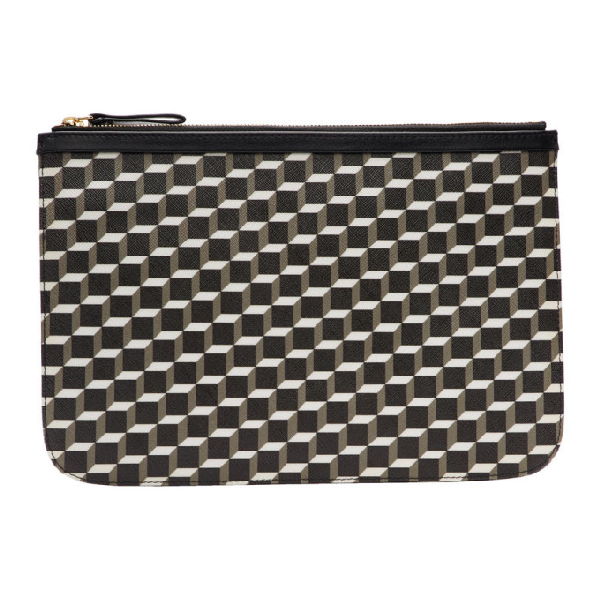 Pierre Hardy 'Perspective' Cube Print Zip Pouch In White/Black