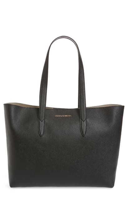 Dolce & Gabbana Dauphine Morbi Stampa Shopping Tote Bag In Nero
