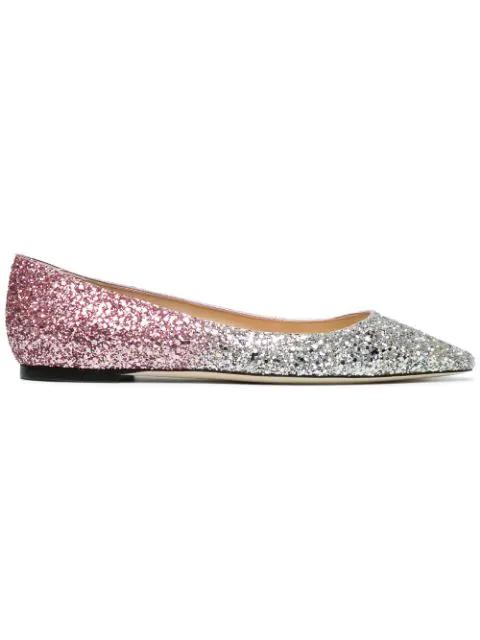 Jimmy Choo Pink Romy DÉGradÉ Glitter Pumps In Platinum/Flamingo