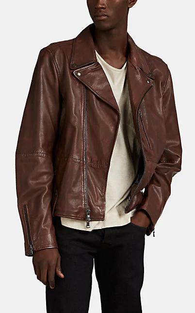 John Varvatos John Vavatos Star Usa Nubuck Leather Moto Jacket In Chestnut