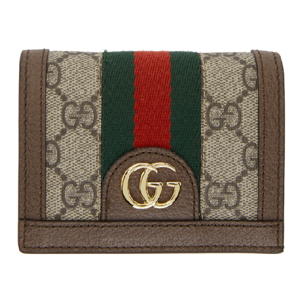 Gucci Ophidia Gg Supreme Web-Stripe Canvas Wallet In 8745 Beige