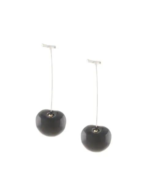 E.m. Cherry Pendant Earrings In Black