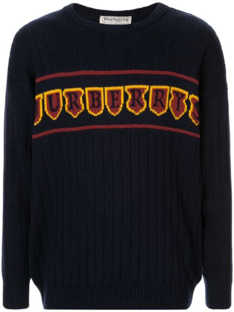 Burberry Intarsia Logo Ribbed Jumper In Blue