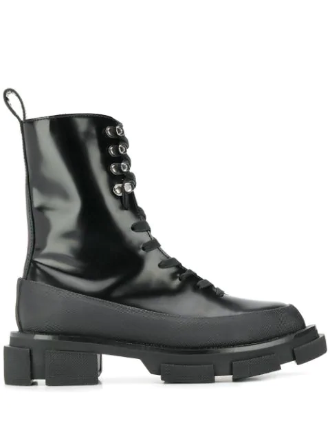 Both 'gao' Leather Combat Boots In Black