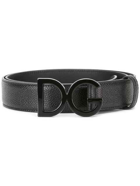 Dolce & Gabbana Leather Belt With Logo Buckle In Black
