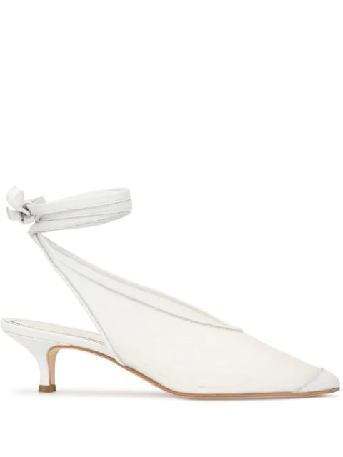 Tibi Pointed-Toe Slingback Pumps In White
