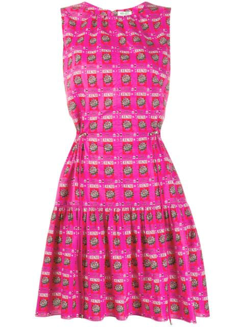 Kenzo Printed Sleeveless Cotton Flare Dress In 26 Pink