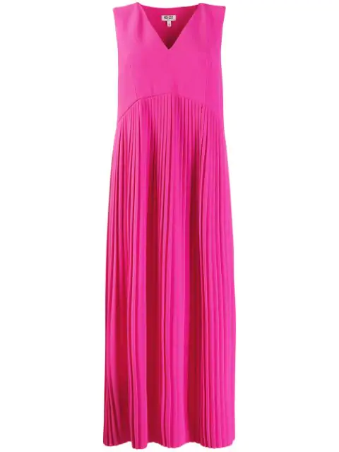 Kenzo Pleated Midi Dress In Pink