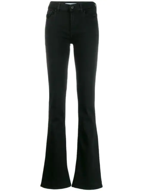 7 For All Mankind Flared Jeans In Black