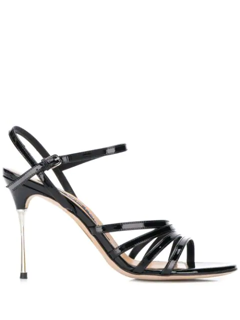 Sergio Rossi Godiva Steel Sandals In Black
