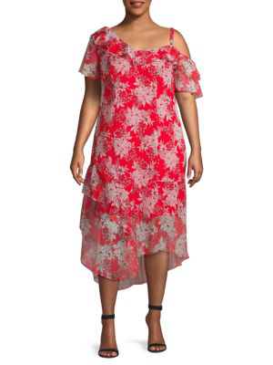 Vince Camuto Floral Asymmetrical Dress In Crimson Red