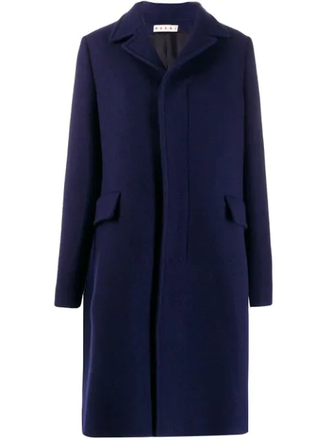 Marni Concealed Front Coat In Blue