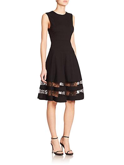 Jason Wu Lace-Paneled Stretch-Ponte Dress In Black