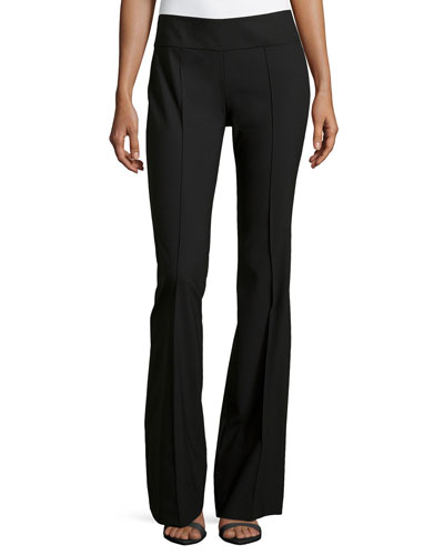 Michael Kors Stretch Wool Flare Pants, Black