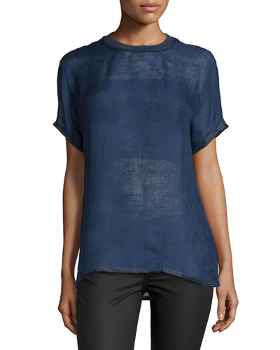 Versace Short-Sleeve Jewel-Neck Shirt, Navy