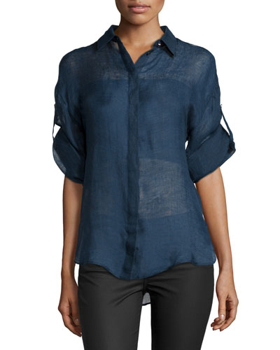 Versace Long-Sleeve Button-Front Blouse, Blue