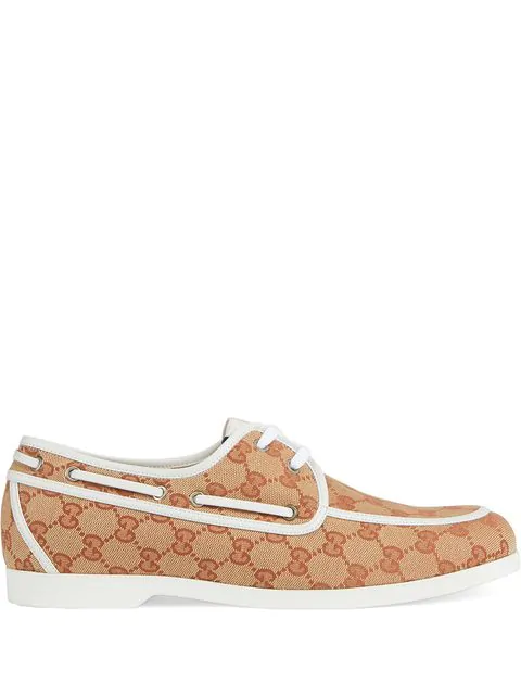Gucci Men's Gg Canvas Vintage Boat Shoe In Brown
