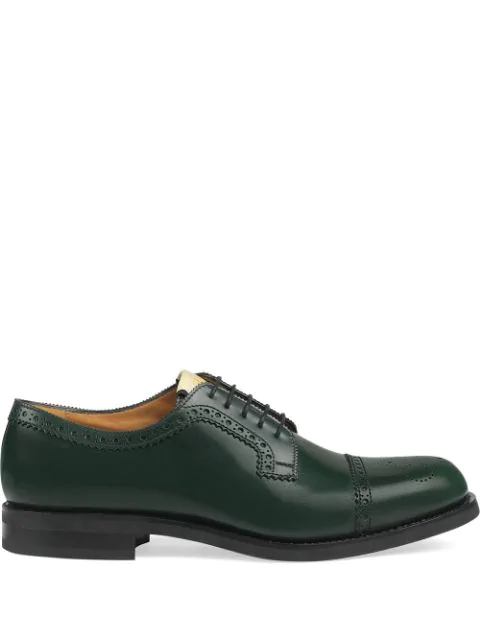 Gucci Brogue Leather Lace-Up Shoe In Green