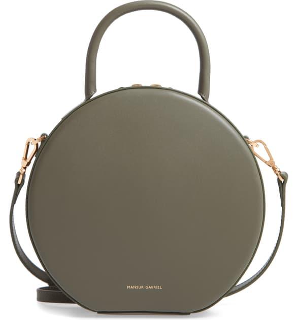 Mansur Gavriel Calfskin Leather Circle Crossbody Bag In Leaf