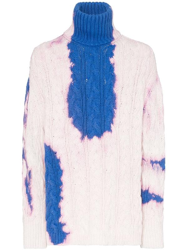 ac9bfc38e46d51 Balenciaga Tie-Dye Turtleneck Cotton-Knit Jumper In 4005 Blue | ModeSens