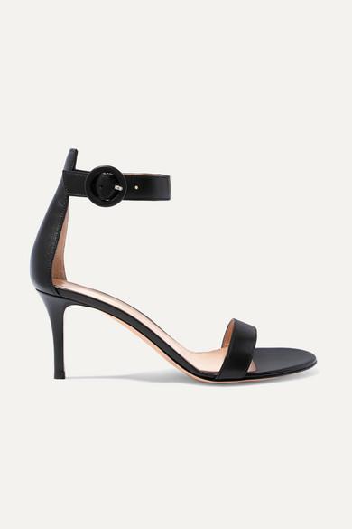 Gianvito Rossi Portofino 70 Leather Heeled Sandals In Black