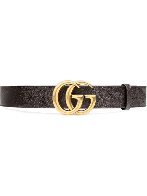 Gucci Reversible Leather Belt With Double G Buckle In 2145 Marrone