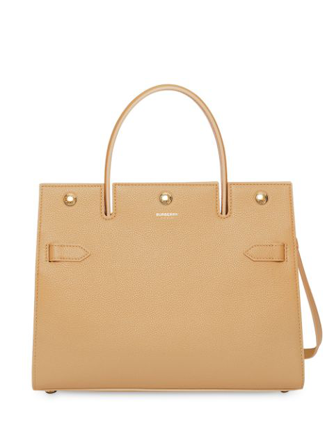 Burberry Small Leather Title Bag In Brown