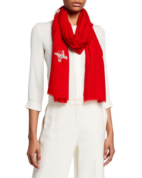 K Janavi Embellished Butterflies Merino Wool Scarf In Red