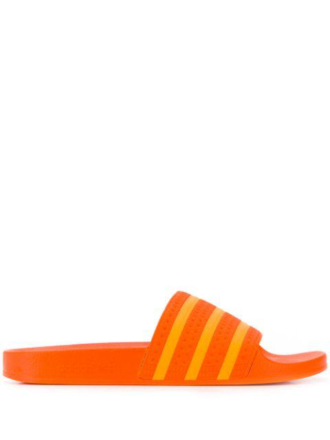 Adidas Originals Stripe Detail Slides In Orange