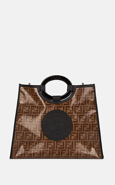 """Fendi """"Double F"""" Coated Canvas & Leather Shoulder Bag - Tabacco, Blk"""