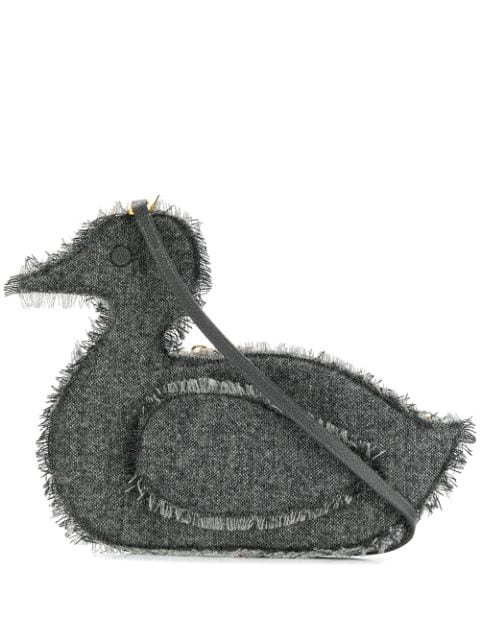 Thom Browne Donegal Flat Duck Clutch In Grey