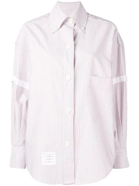 Thom Browne University-stripe Long-sleeve Shirt In Red