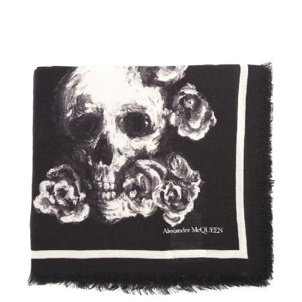 Alexander Mcqueen Skull & Roses Silk-Wool Blend Scarf In Black