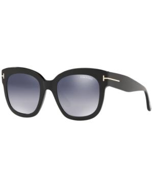 Tom Ford Beatrix 52mm Polarized Lens Oversize Square Sunglasses In Black