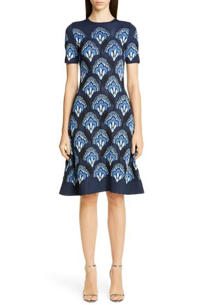 Carolina Herrera Floral Jacquard Knit Dress In Sapphire Multi