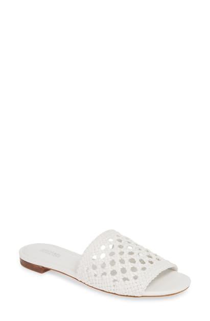Michael Michael Kors Women's Augustine Woven Leather Slide Sandals In Optic White