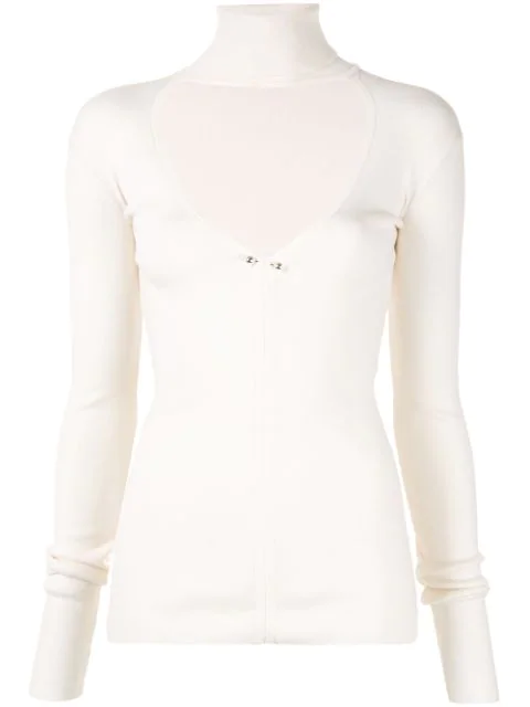Dion Lee Knit Top With Cut-Out On The Chest In Ivory