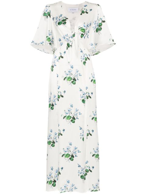 Les Rêveries Tie-front Floral-print Silk-satin Maxi Dress In Blue Daffodil White