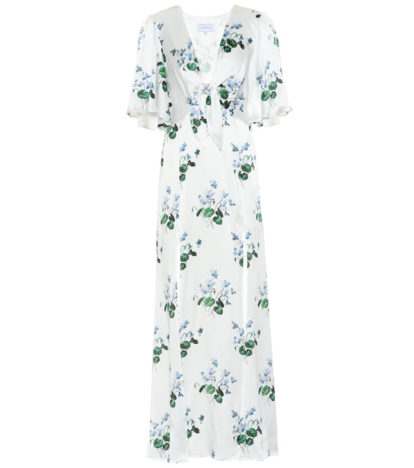 Les Rêveries Tie-front Floral-print Silk-satin Maxi Dress In White