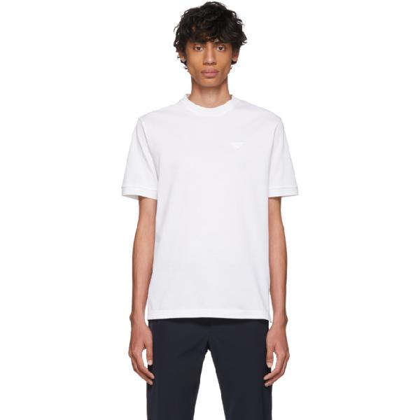 Prada Logo Embroidery White Stretch T-shirt In F0009 Bianc