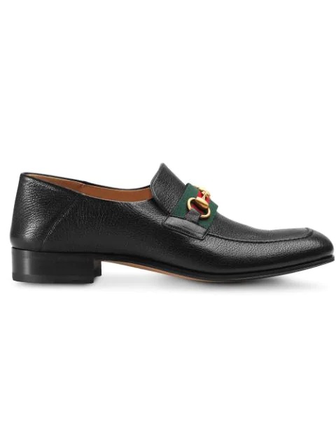 Gucci Bonny Horsebit Collapsible-Heel Webbing-Trimmed Full-Grain Leather Loafers In Black