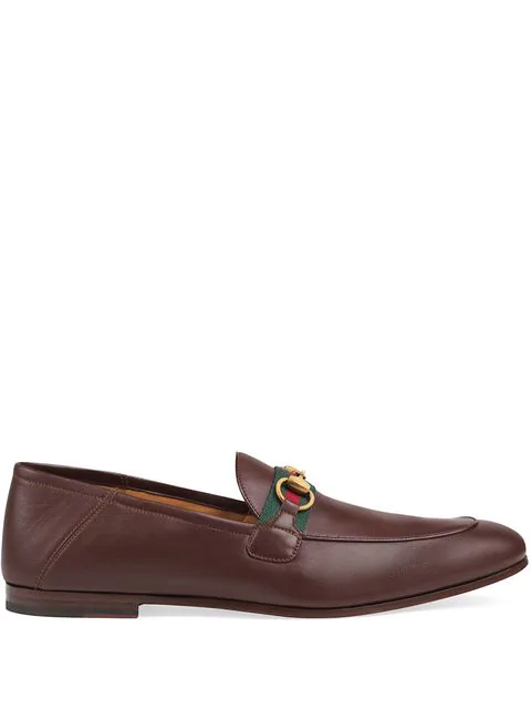 Gucci Brixton Webbing-Trimmed Horsebit Collapsible-Heel Leather Loafers In Brown