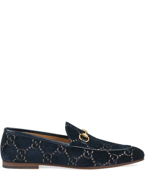 Gucci New Jordaan Horsebit Leather-Trimmed Logo-Embroidered Velvet Loafers In Blue