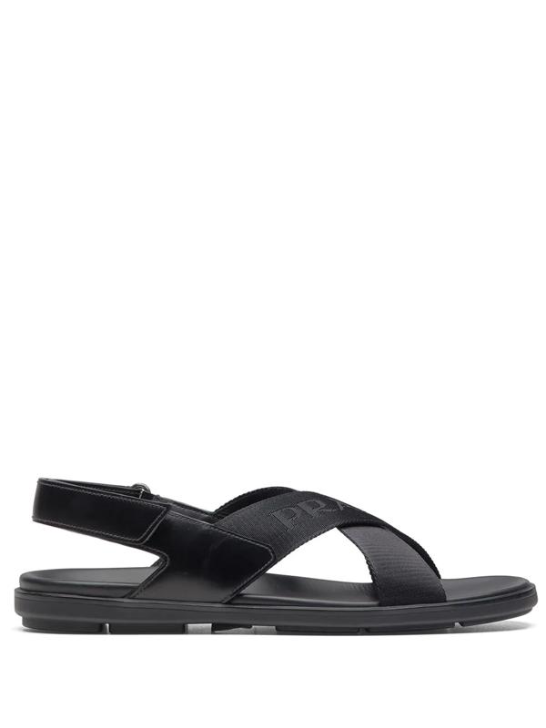 Prada Black Logo Tape Ankle Strap Sandals