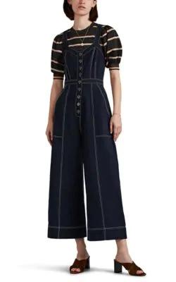 Ulla Johnson Romy Cotton-Blend Twill Jumpsuit In Navy