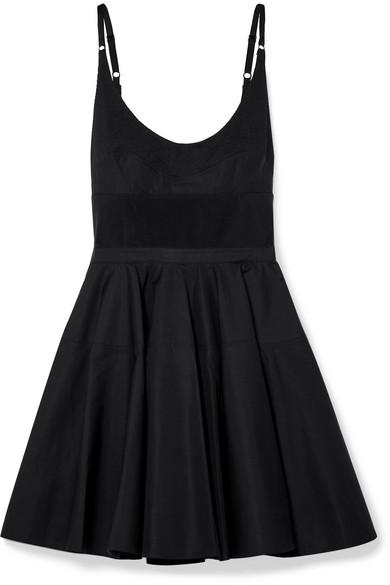 Alexander Wang Rib Knit-Trimmed Cotton-Poplin Mini Dress In Black