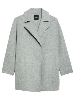 Theory New Divide Wool/cashmere Coat In Blue Grey Melange