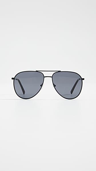 Le Specs Road Trip Aviator Metal Sunglasses In Matte Black/smoke Mono