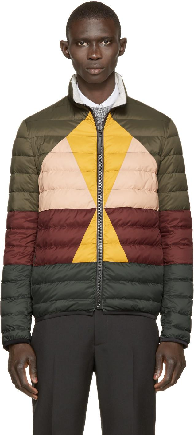 Valentino Multicolor Down Jacket In Military Green